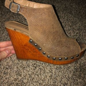 Lucky Brand peep toe wedges